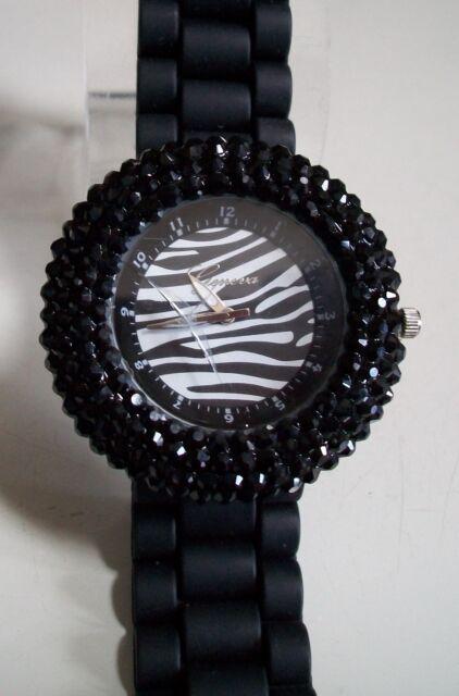 Geneva Black Zebra Women's Rhinestone-accented Silicone Fashion Watch