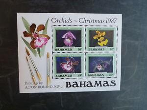 1987-BAHAMAS-CHRISTMAS-ORCHIDS-4-STAMP-MINI-SHEET-MNH
