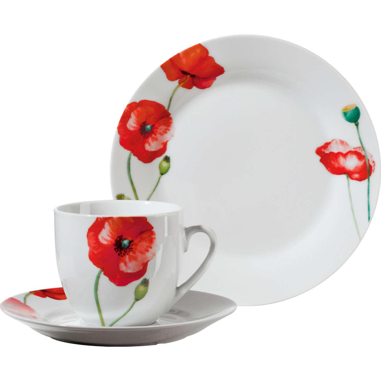 Gepolana Service à Café 18 Pièces Porcelaine, Rouge