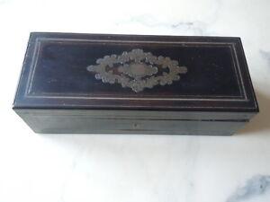 Boite a gants bois noirci marqueterie laiton d'époque Napoléon III 19ème