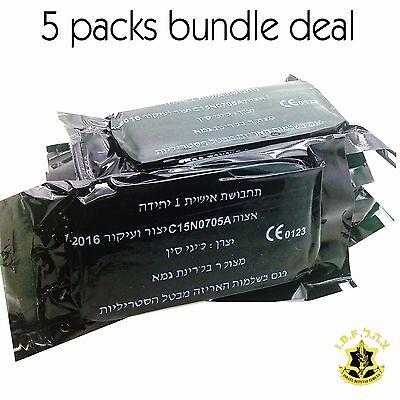 5X Green IDF Personal Wound Field Bandage Pad Dressing Vacuum Sealed IFAK Israel