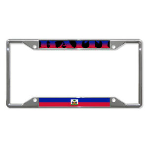 Haiti Haiti Wavy Flag Metal License Plate Frame Tag Holder