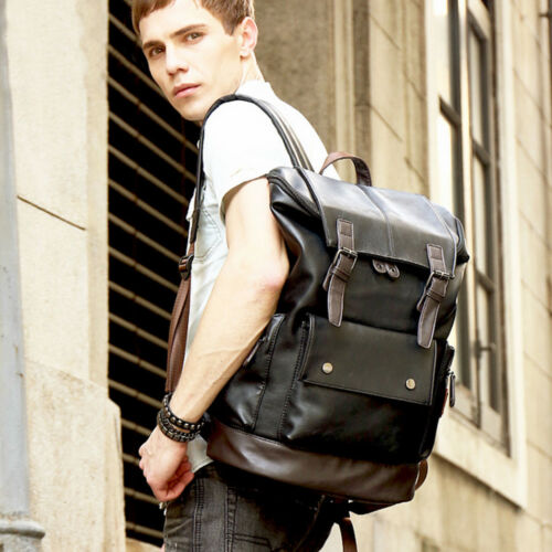 Large Mens Leather Backpack Laptop Bag Shoulder Rucksack Travel Handbag