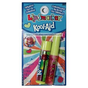 LIP-SMACKER-2pc-Set-KOOL-AID-Balm-Gloss-STICK-LIQUID-Bubble-Font-STRAWBERRY-KIWI
