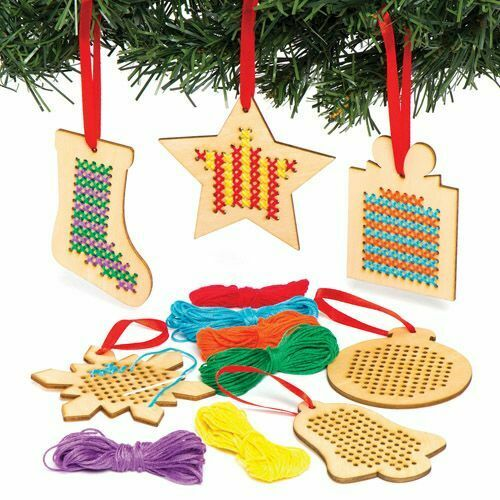 6 Xmas Decoration Bauble Bell Cross Stitch Kit Wooden Gift Kids Craft SALE