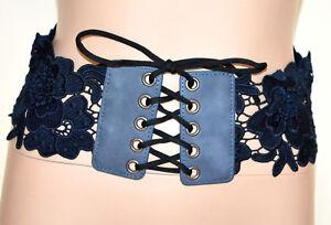 CINTURA-BLU-PIZZO-donna-stringivita-corsetto-bustino-fascia-ricamata-lacci-BB2