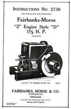 Fairbanks Morse Z D 15 2hp Gas Engine Motor Book Manual Hit Miss 2736 Zd