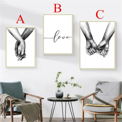Art Love Holding Hands Black /& White Picture Canvas Prints Painting Wall Decor