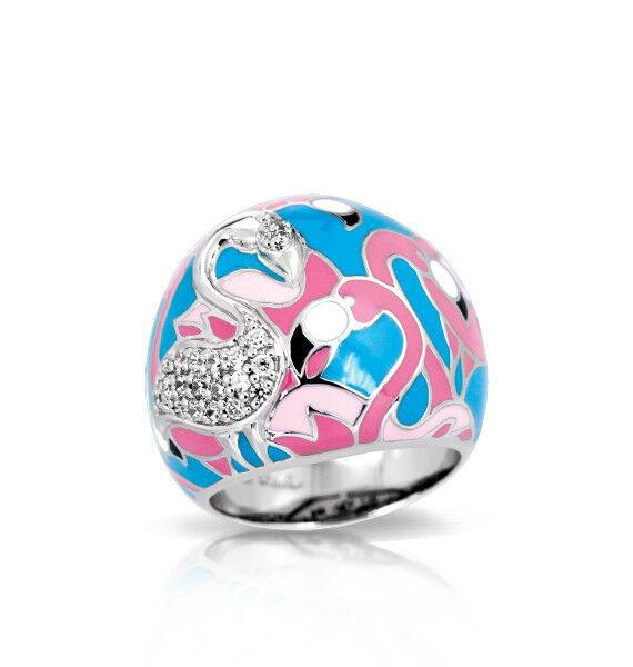 Belle Etoile Flamingo Turquoise Pink Ring NWT Size 8