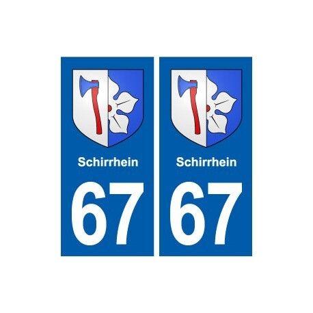 67 Schirrhein blason autocollant plaque stickers ville -  Angles : droits