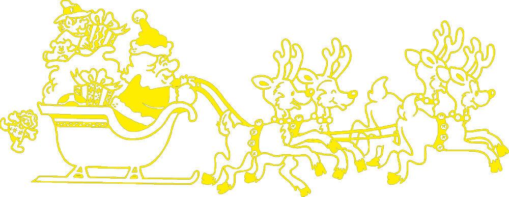 (WD0807 gelb) Applikation Aufkleber Dekor • Rentier-Schlitten• versch. Größen