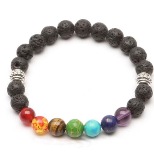 7 Chakra Bracelet Lava Healing Balance Beads Reiki Buddha Prayer Natural Stone