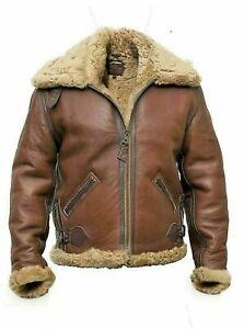 Mens Aviator RAF B3 Flying Shearling Sheepskin Leather Jacket Bomber Jacket