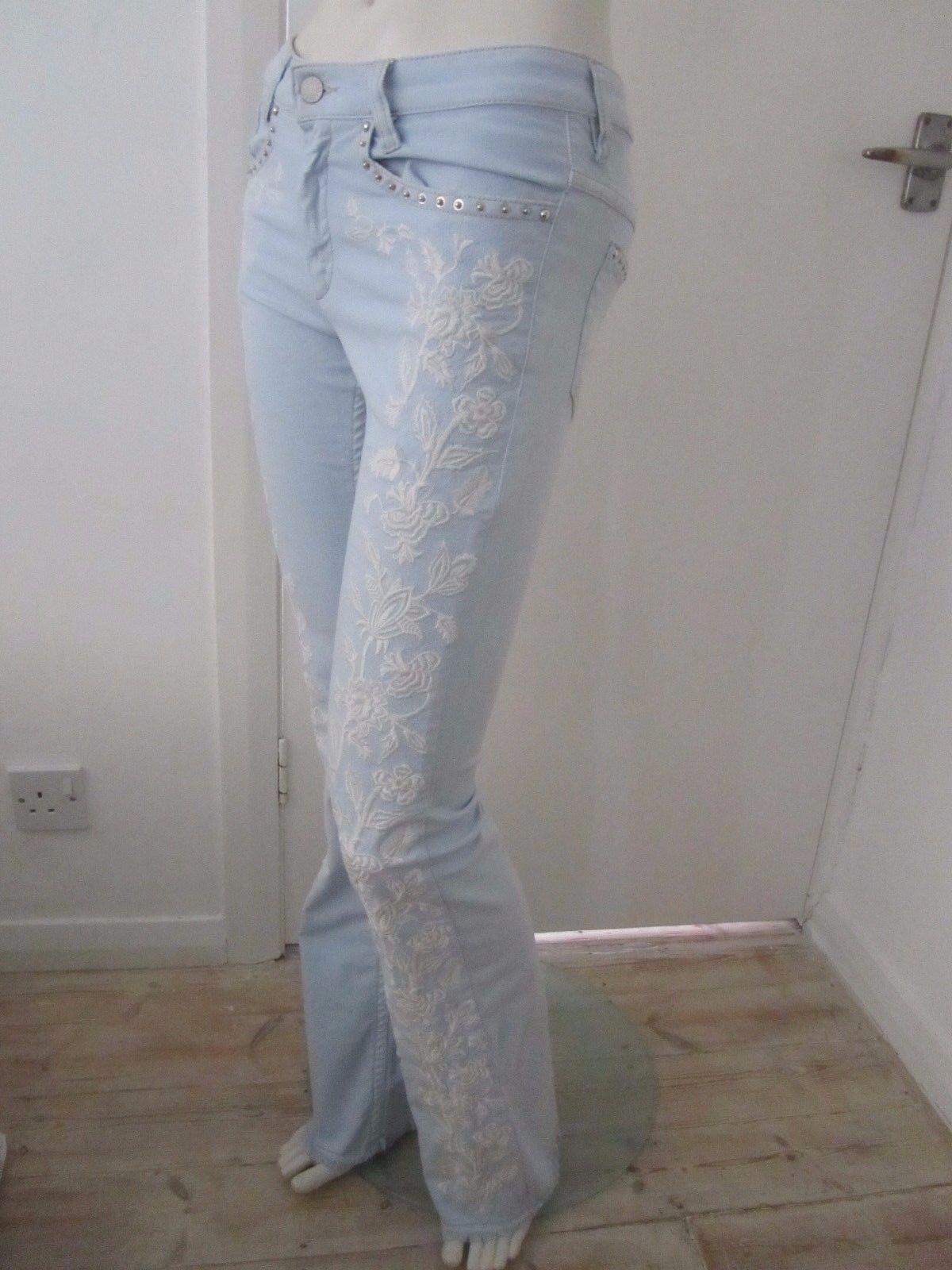 NUOVO Isabel Marant Stud Stud Stud impreziosito e logo ricamato Jeans avviocut 3aa412