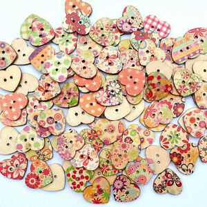 25× Love Heart Shaped Mixed Flower Painted 2 Holes Wooden
