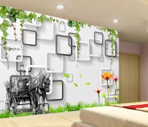 3D Horse Car Lawn 5 Wallpaper Murals Wall Print Print Print Wallpaper Mural AJ WALL UK Jenny b6d1ae