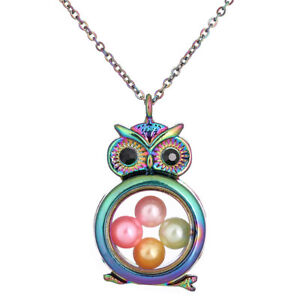 Animal-Owl-Memory-Locket-Floating-Glass-Beads-Cage-Charm-Steel-Chain-20-034