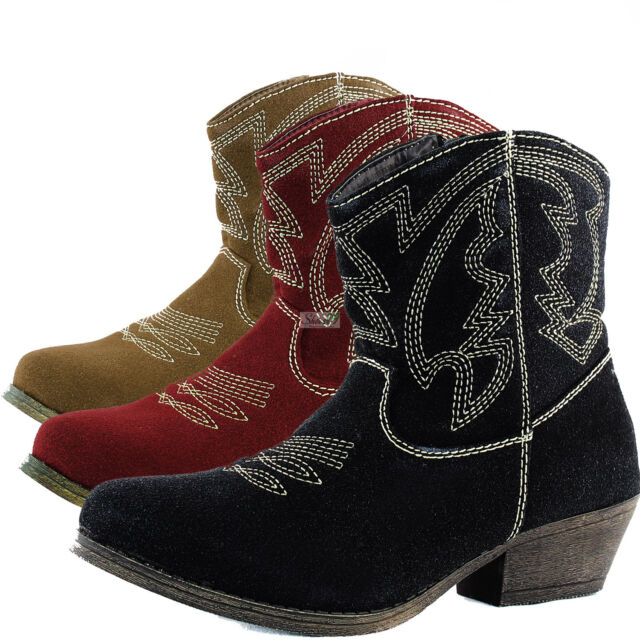 Womens Casual Boots Western Cowboy Ankle Kittenthick Heel Stitching Detail Shoes