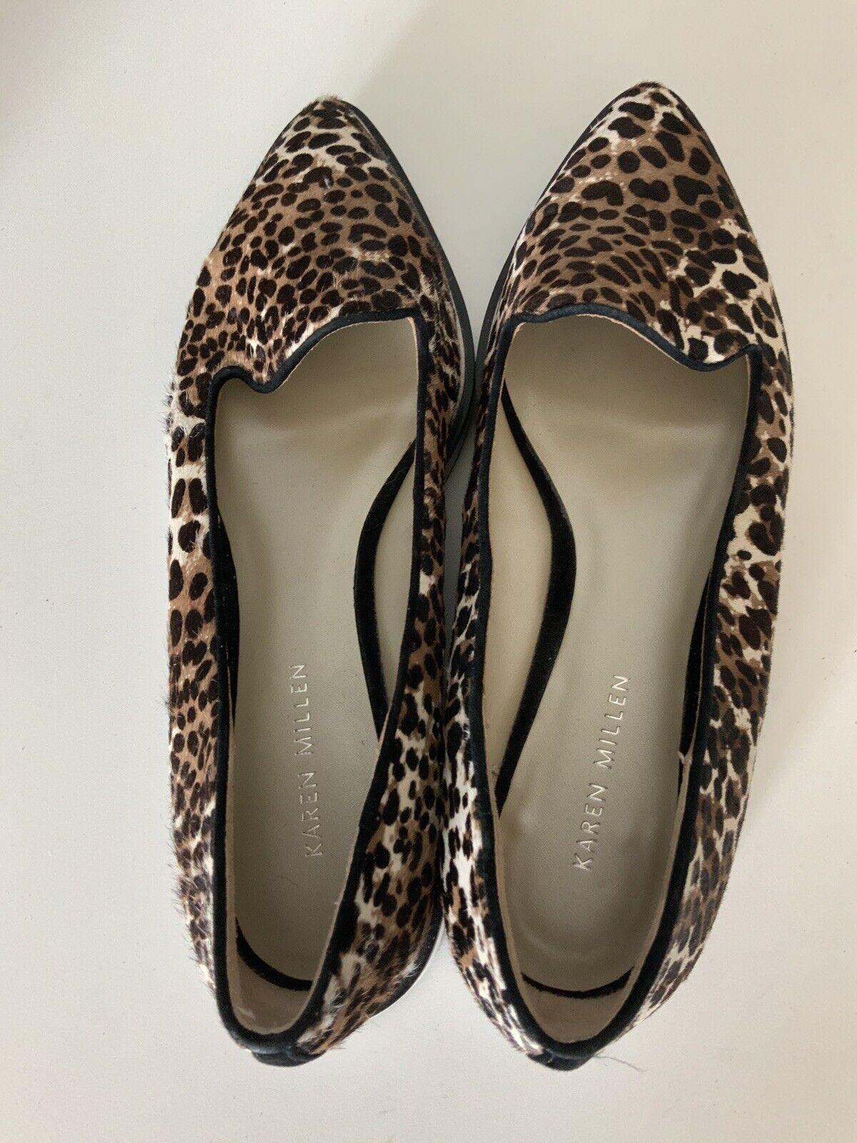 Karen Millen Leopard Print Pony Hair Flats schuhe Größe 39 uk 6 VGC