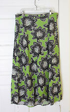 Cato Woman Linen Rayon Long A-Line Green Black White Floral Unlined Skirt 18/20W