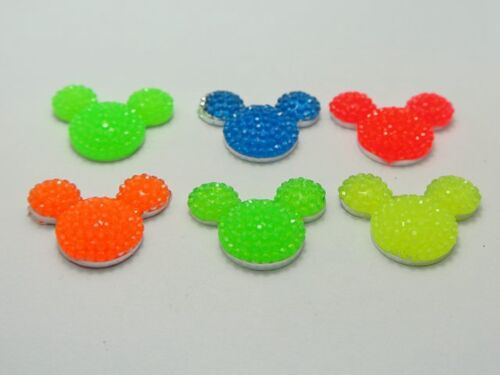 20 Mixed Neon Color Flatback Resin Mouse Head Dotted Rhinestone Gems 23X18mm
