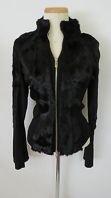GUCCI  SOLID   BLACK ACRYLIC   FAUX  FUR  BELL  SLEEVES  BOMBER JACKE SIZE  M