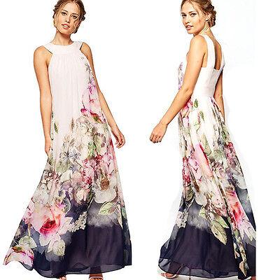 Elegant Women Party Dress Summer Sleeveless Floral Long Dress Beach Maxi Dress