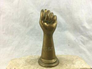Vintage-Midcentury-Solid-Brass-Closed-Fist-Sculpture-Paperweight-Adams-Porter