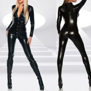 Sexy-Damen-Overall-Jumpsuit-Wetlook-Catsuit-Glanz-Body-Anzug-Schwarz-Reizwaesche