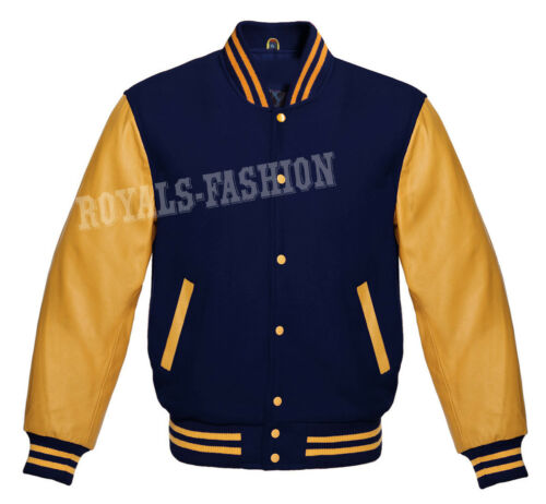 Wool Letterman Varsity lederen goud Baseball mouwen jas echt Navy B7nCfT