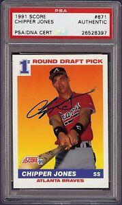 Super Rare 1991 Score #671 Chipper Jones Autograph Rookie RC Card PSA / DNA HOF