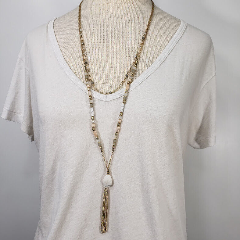 Beaded Gold Color Necklace Pink Gray Bead Pastel Light Set of 2