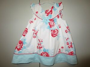 Girls-Size-1-Pumpkin-Patch-frill-cap-sleeve-floral-yoke-dress-12-18mths