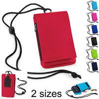 Mobile Smart Cell Phone Case Money Belt Neck Strap Zip Card Holder Pouch Wallet