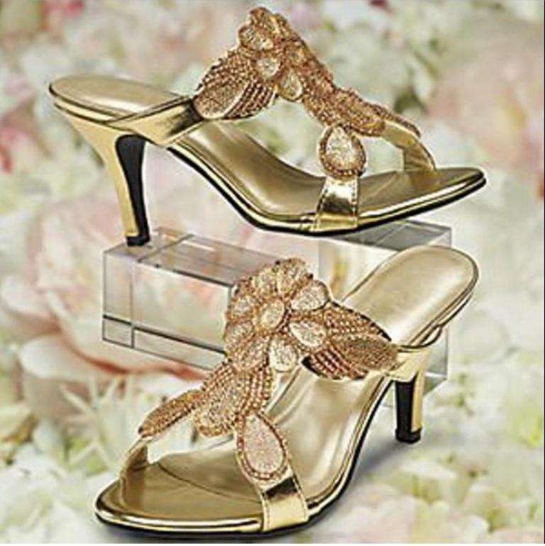 Mother of Bride Women's evening party heel slide Sandal shoes size 9.5  9