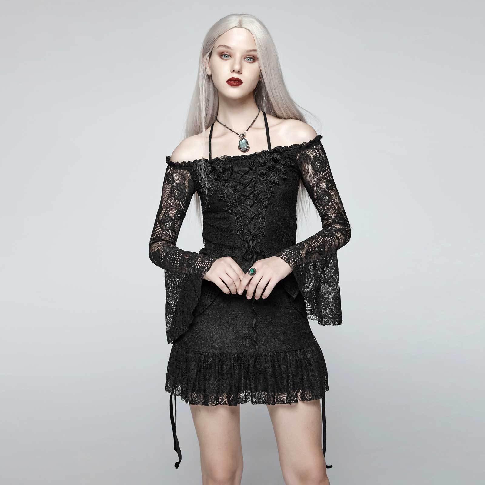 PUNK RAVE Gothic Beauty Tunika Top Traumhaftes Mini Kleid Schwarz Spitze Rüschen
