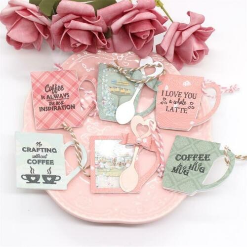 Coffee Mug Shaker Tags Transparent Clear Silicone Stamp Cutting Dies DIY photo