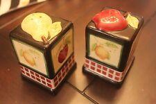 Debbie Mumm fruit pear strawberry lemon apple black red salt & pepper shakers