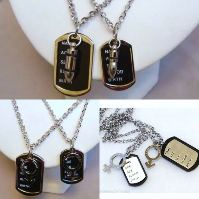 UK Men Unisex LOVE COUPLE Stainless Steel 2 Set Title Dog Tag Chain Necklace