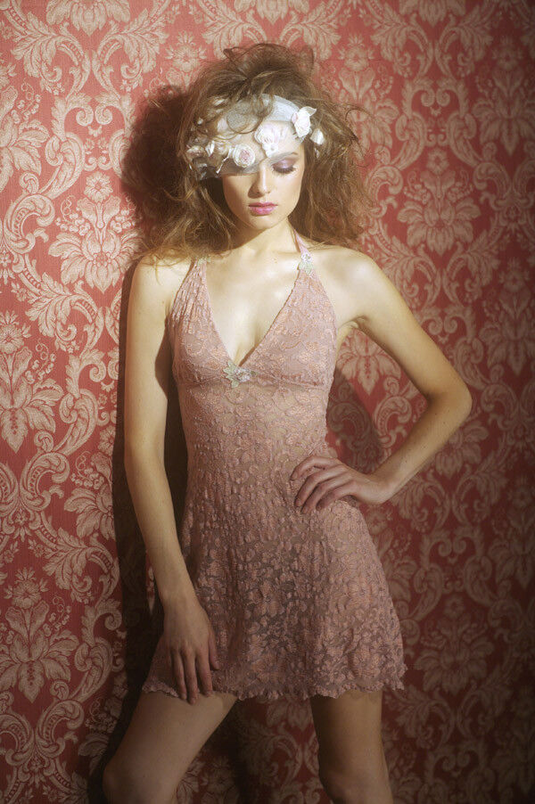 Claire Pettibone Babydoll Chemise KYRA Lace Halter wTulle S New  110 Bombshell