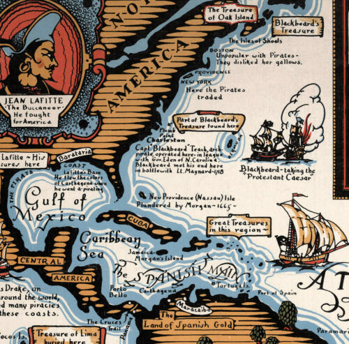 Map Famous Pirates Buccaneers Freebooters Buried Treasure Poster Wall Art Print