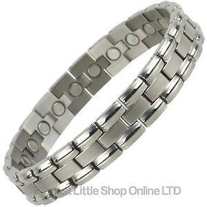Mens-Silver-Finish-Titanium-Magnetic-Bracelet-Link-Design-Health-22-Magnets-Ther