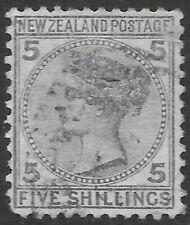 NEW ZEALAND 1874 5s grey, FU small fault. SG 186. Cat.£300.