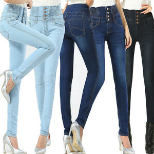 Womens-Jeans-Size-6-16-Ladies-High-Waisted-Skinny-Fit-Jeans-Stretch-Denim-Plant