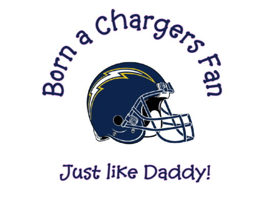 Born a San Diego Chargers fan NFL tshirt one piece toddler Fathers Day Gift