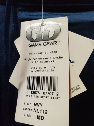 Game Gear Made in USA Nylon Lycra NEW w// Tags Open Leg Sports Tights NAVY Large