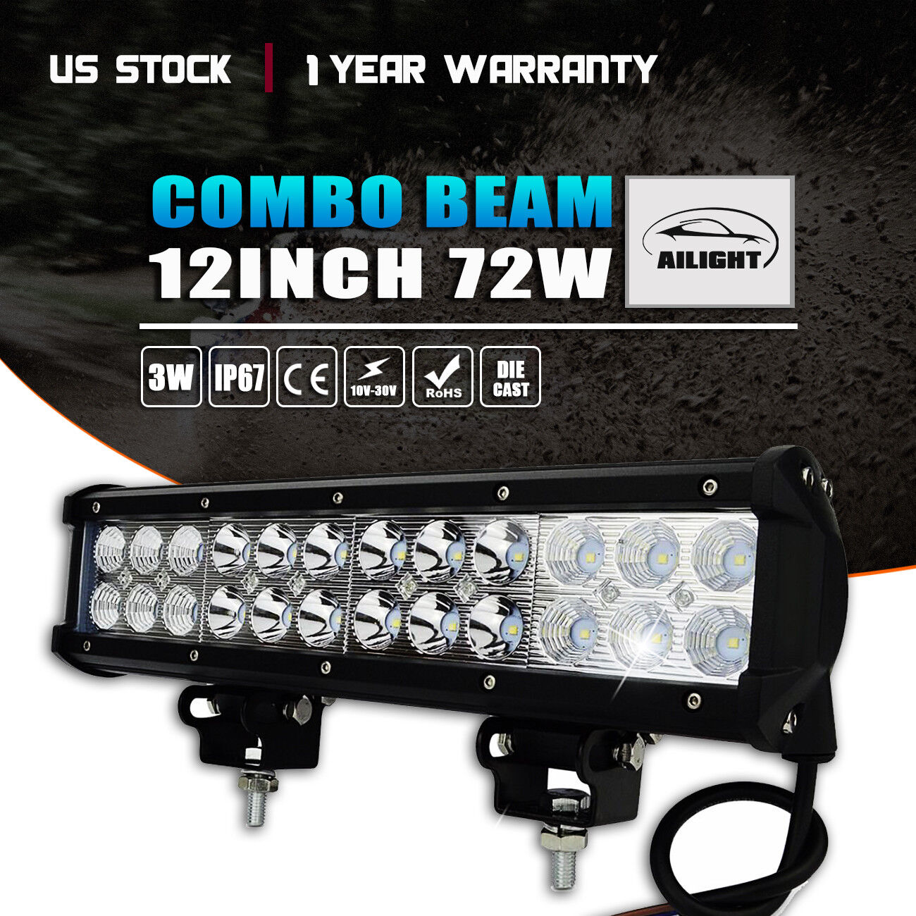 "12/""inch 72W Combo Led Light Bar Super Bright For ATV OFF Road Can-Am Maverick"