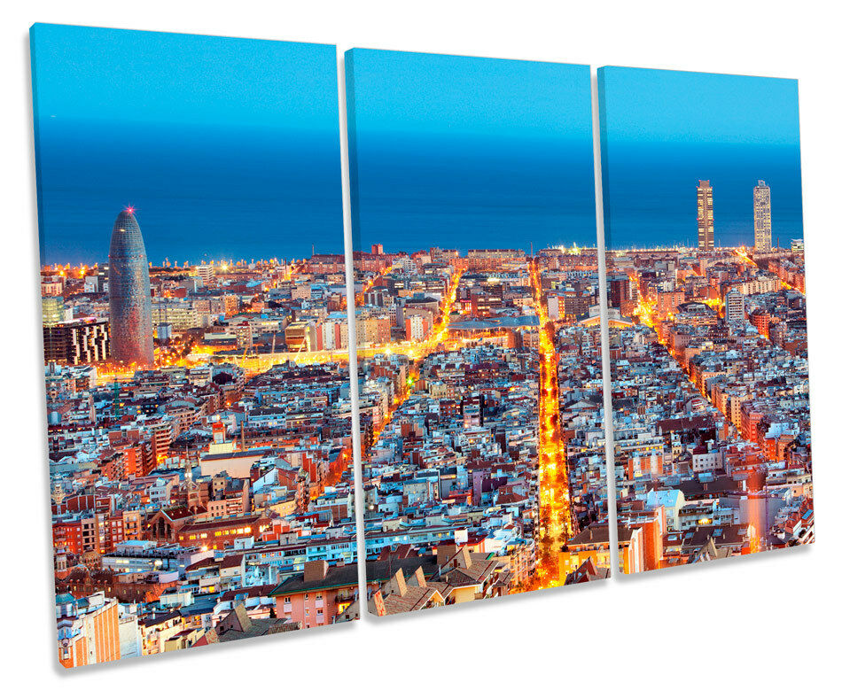 Barcelona Spain Skyline CANVAS Wand Kunst TRIPLE Box Frame Drucken