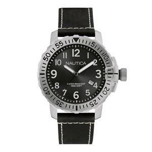 Nautica-Herren-Armbanduhr-Uhr-Watch-48-mm-Taucheruhr-Datum-Schwarz-10-ATM-100m