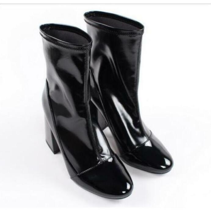 New Fashion Women's Chunky Heels Patent Leather Leather Leather Mid Calf Boots Riding shoes R937 b55478